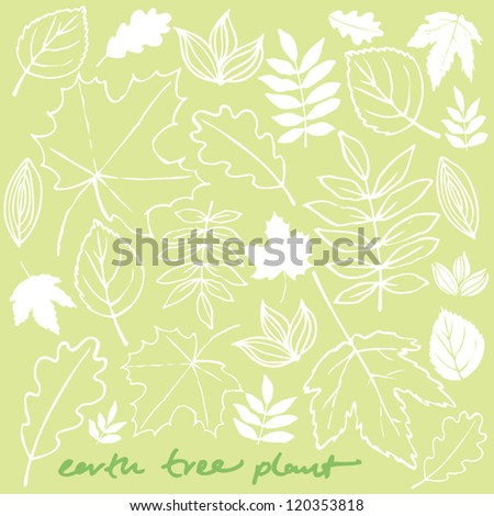 Leaf collection outline & silhouette vector