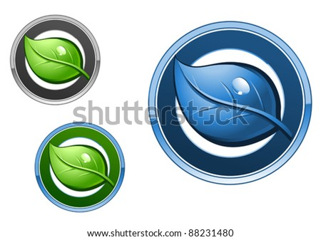 Leaf emblems and icons set for ecology design, such a logo. Jpeg version also available in gallery - stock vector
