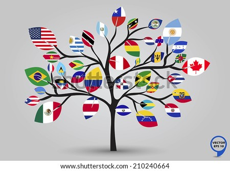 Leaf flags of the American continents in tree design. Vector illustration. - stock vector