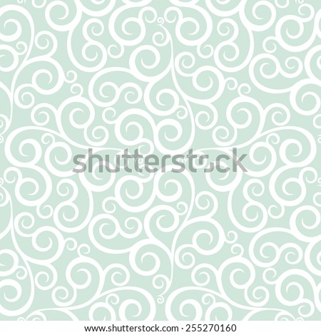Leaf, floral pattern from curls. Green  and white ornament. Seamless vector background. - stock vector