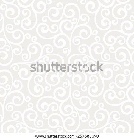 Leaf, floral pattern from curls. Seamless vector background. Gray and white ornament - stock vector