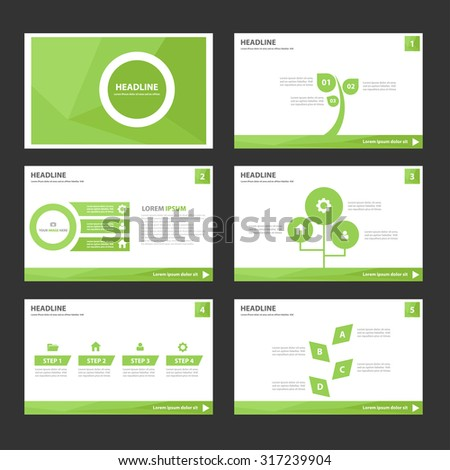 Leaf green polygon Infographic elements presentation template flat design set for brochure flyer  - stock vector