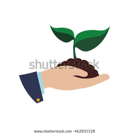 leaf hand plant green nature ecology icon. Isolated and flat illustration. Vector graphic