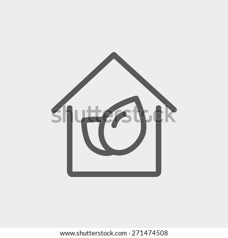 Leaf house icon thin line for web and mobile, modern minimalistic flat design. Vector dark grey icon on light grey background. - stock vector