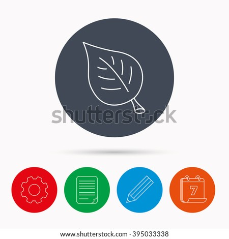 Leaf icon. Natural eco sign. Environment symbol. Calendar, cogwheel, document file and pencil icons. - stock vector