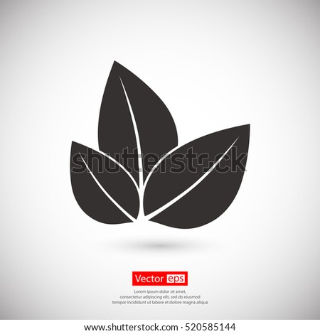 Leaf icon, vector illustration. Flat design style