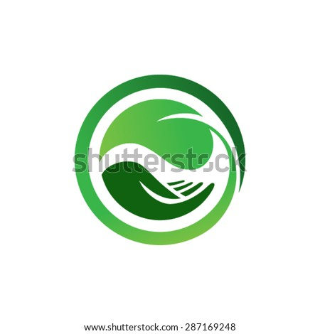 Leaf in hand logo. Organic Life symbol - stock vector