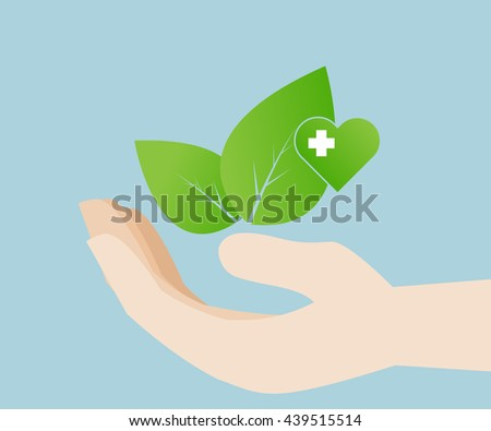 leaf in hand with heart for love and save environment, eco friendly, vector illustration - stock vector