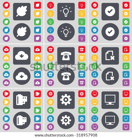 Leaf, Light bulb, Tick, Cloud, Retro phone, File, Negative films, Gear, Monitor icon symbol. A large set of flat, colored buttons for your design. Vector illustration - stock vector