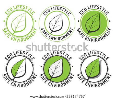 Leaf logo set. Eco design icon. Safe environment. Vintage vector illustration