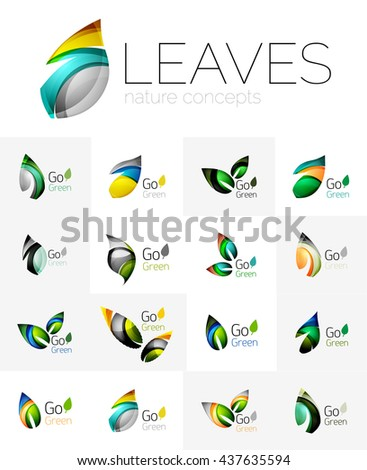 Leaf logo set. Vector collection of abstract geometric design futuristic leaves - go green logotypes. Created with color overlapping geometric elements - waves and swirls. Shiny and glossy effects - stock vector