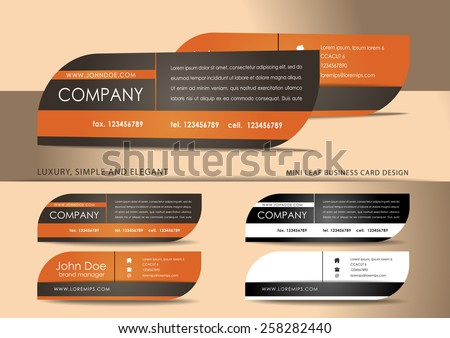 Leaf mini business card design in brown - stock vector