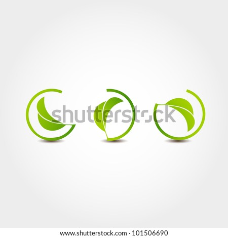 Leaf nature icons - stock vector