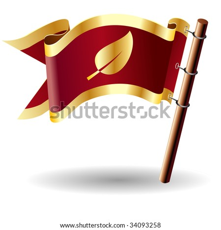 Leaf or nature icon on red and gold vector flag good for use on websites, in print, or on promotional materials