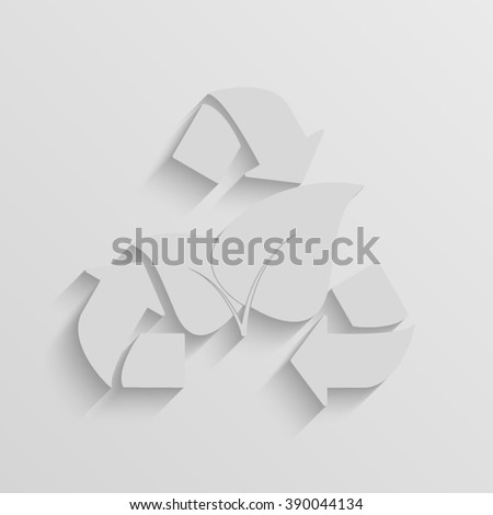 leaf recycle sign vector paper icon