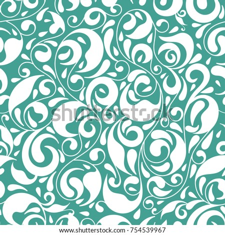Leaf seamless pattern. Ornament. Floral pattern. Turquoise. Paisley elements. Traditional, Arabic, Turkish, Indian motifs. Great for fabric and textile, wallpaper, packaging or any desired idea.
