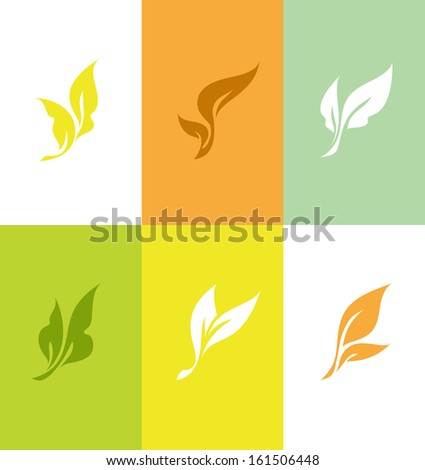 Leaf. Set of elegant design elements - stock vector
