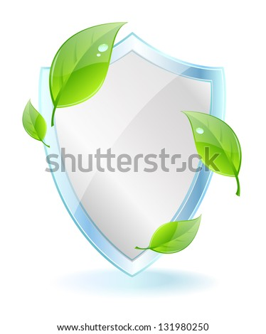 Leaf Shield with copy space - stock vector