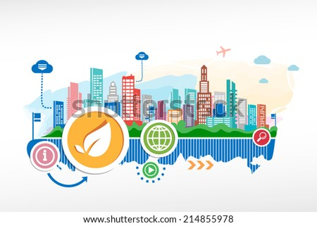 Leaf sign and cityscape background with different icon and elements. - stock vector