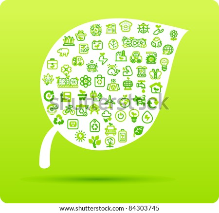 Leaf symbol made from small eco,bio,natural icons - stock vector