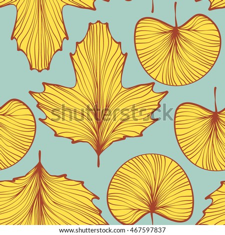 leaf texture seamless pattern. vector illustration background.