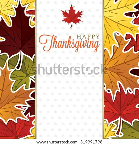 Leaf Thanksgiving card in vector format - stock vector