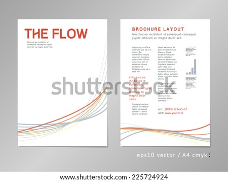 Leaflet / brochure / cover / page layout template. Color blend design, geometric soft shapes, serious three-colored print style. Smooth flow theme. Business, development and progress concept. - stock vector