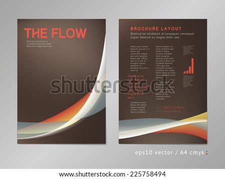 Leaflet / brochure / cover / page layout template. Color blend design, geometric soft shapes, coffee colored print style. Smooth flow theme. Business, development and progress concept. - stock vector