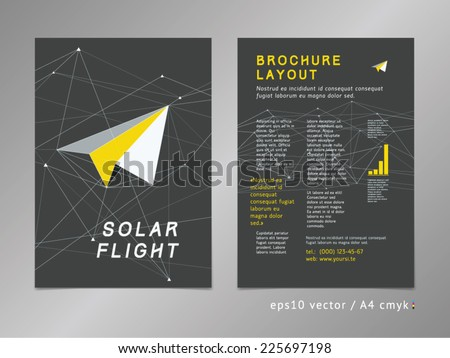 Leaflet / brochure / cover / page layout template. Polygonal design, geometric sharp surfaces, minimalistic three-colored digital style. Arrow shaped flight theme. Progress and development concept.  - stock vector