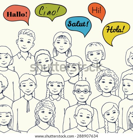 "leaflet illustration of a group of Children and teenagers with speech clouds with the word ""hello"" in different foreign languages. hand drawn vector illustration for leaflet or advertisement"