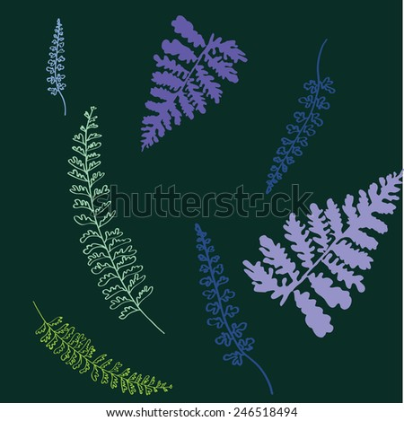 leafs pattern on green background - stock vector