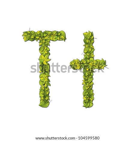 Leafy storybook font depicting a letter T in upper and lower case. Eps10 Vector.