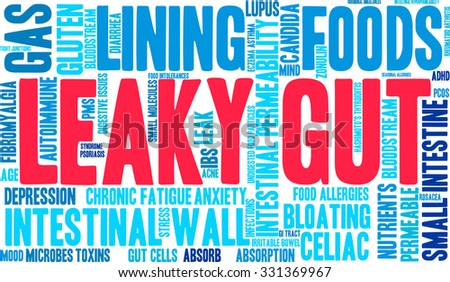 Leaky Gut word cloud on a white background.