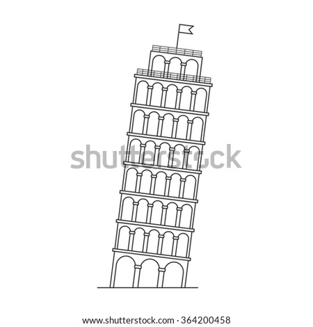 Leaning Tower of Pisa, vector line icon.