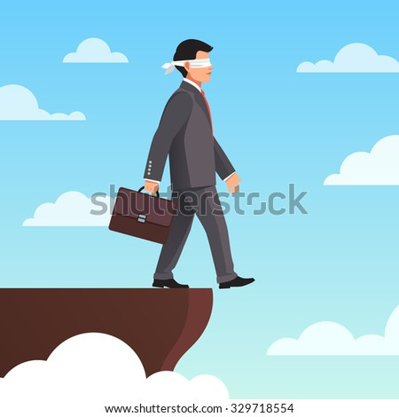 Leap of faith concept. Blindfolded businessman walks off the cliff. Flat style vector illustration. - stock vector