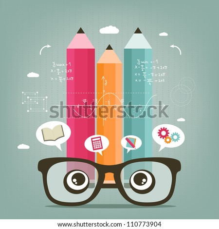 learn and calculate - stock vector
