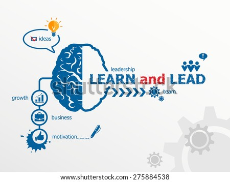 Learn and Lead concept and brain. Hand writing Learn and Lead with blue marker. - stock vector