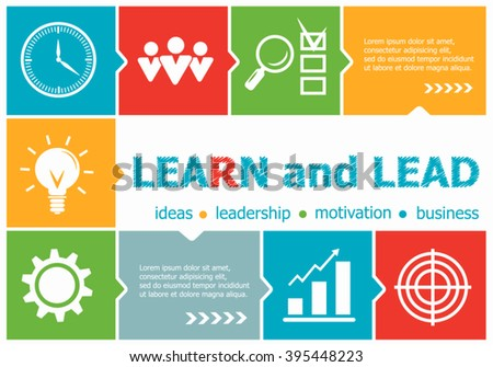 Learn and Lead design illustration concepts for business, consulting, management, career. Learn and Lead  concepts for web banner and printed materials.