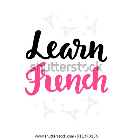 Learn French Language School Banner Modern Stock Vector Royalty