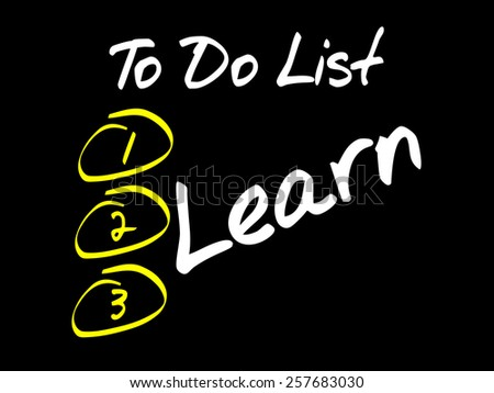 Learn in To Do List, business concept - stock vector
