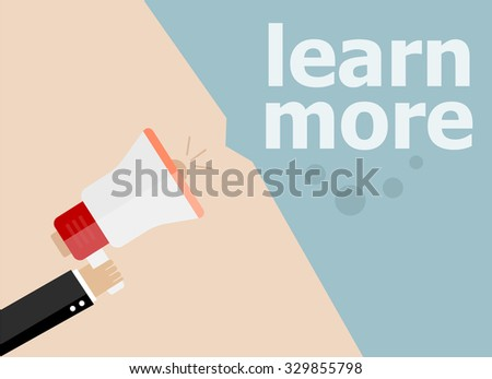 Learn more. Hand holding a megaphone. Vector illustration a flat style - stock vector