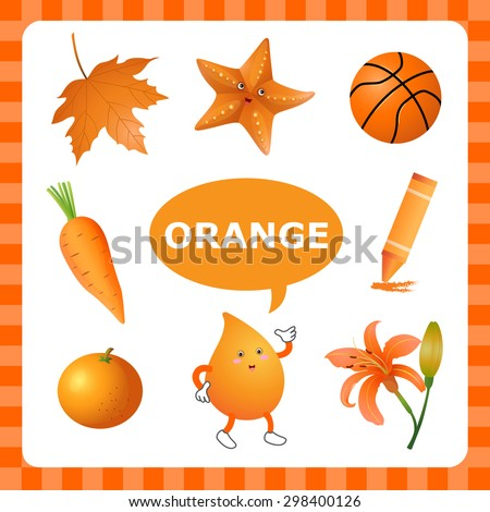 Learn color orange things that orange stock vector for Orange colour things