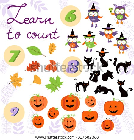 Learn to count  Halloween related cute collection. Vector illustration - stock vector