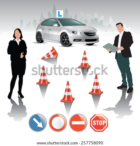 Learner driver girl with instructor taking lessons. Vector illustration - stock vector