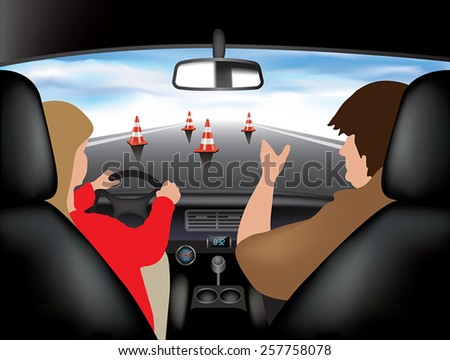 Learner driving car with instructor. Vector illustration - stock vector