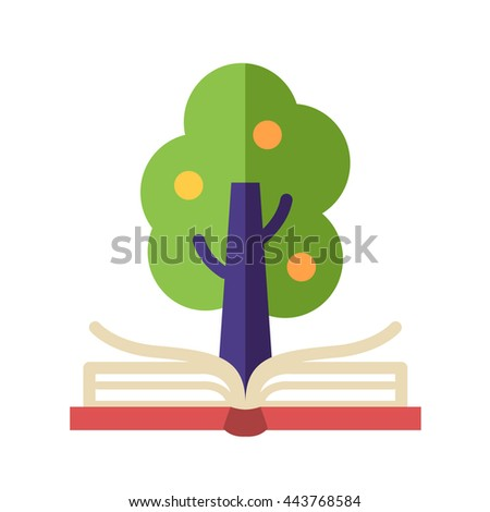 Learning and Knowledge single isolated modern vector flat design icon with open book and tree on it - stock vector