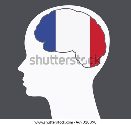 Learning and speaking french language idea with face profile and french flag colors vector illustration with gray background.