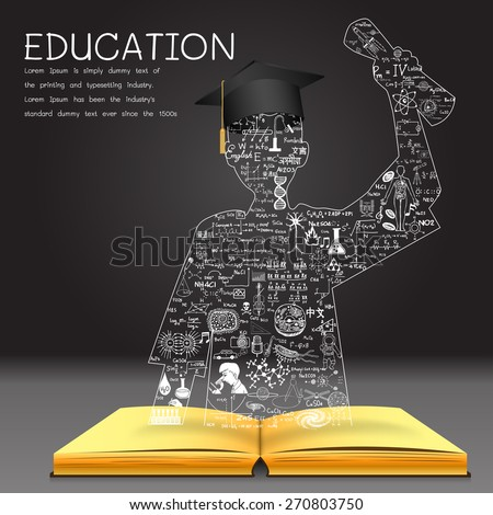 Learning concept. The knowledge from the book becomes successful graduated student. Education doodles including the word ROMANIAN in Romanian,CHINESE in Chinese,KOREAN in Korean and other languages.  - stock vector