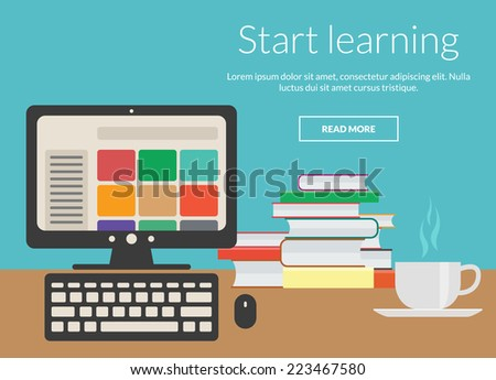 Learning concept with coffee, books and computer. Vector elements design for online advertising - stock vector