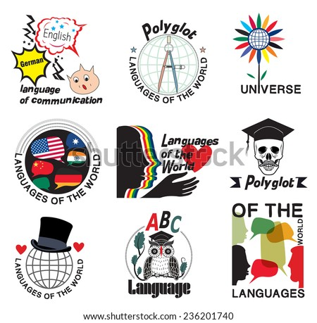 Learning foreign languages. Logo, labels, badges and design element. - stock vector